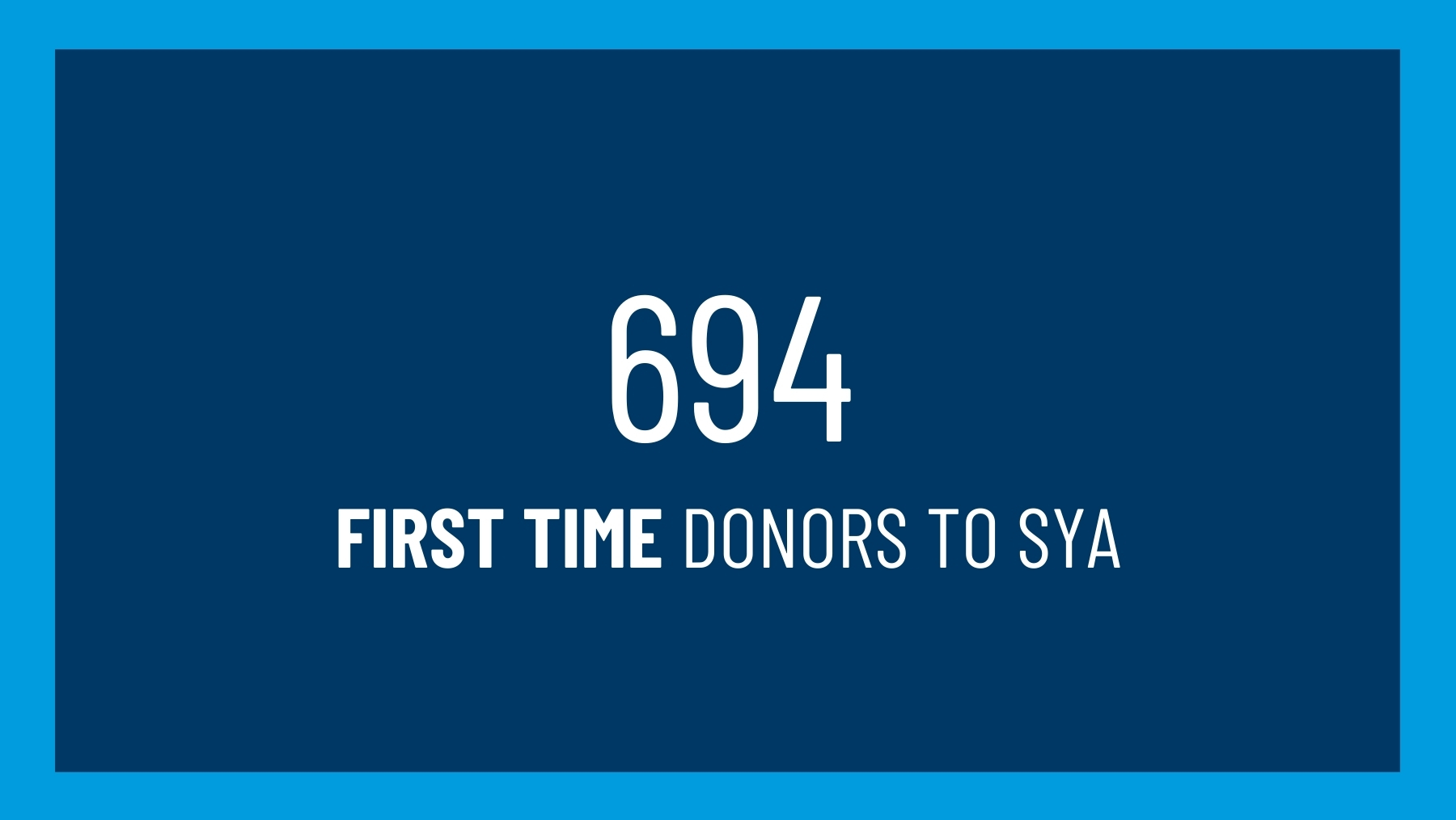 694 first time donors to SYA